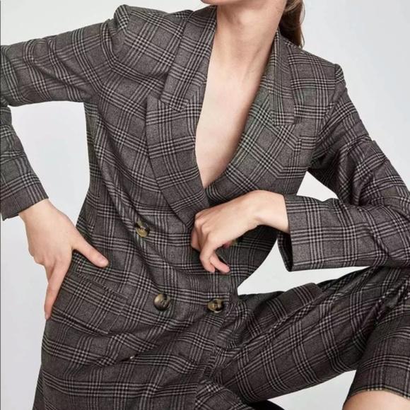 33e63e31 Zara Jackets & Coats   Black White Double Breasted Blazer Jacket Nwt ...